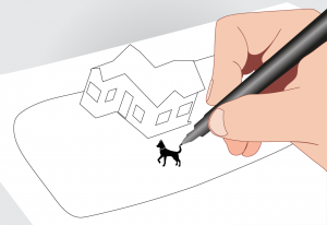 A hand drawing a dog on a white paper