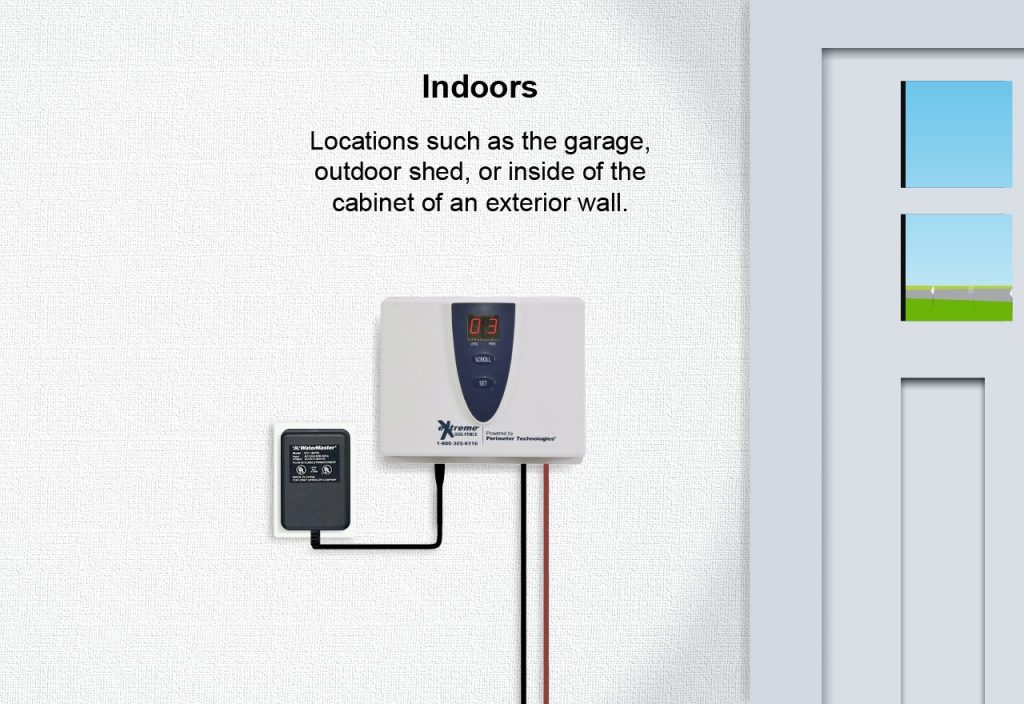 A graphic showing a transmitter installed indoors