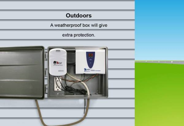 A graphic showing a transmitter installed outdoors with surge protection